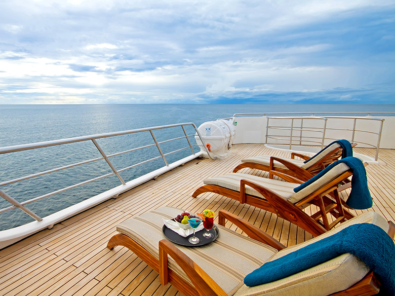 oceanspray sundeck Galapagos cruise luxury
